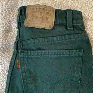 Vintage Orange Tab Levi's Green 550 Cutoff Shorts